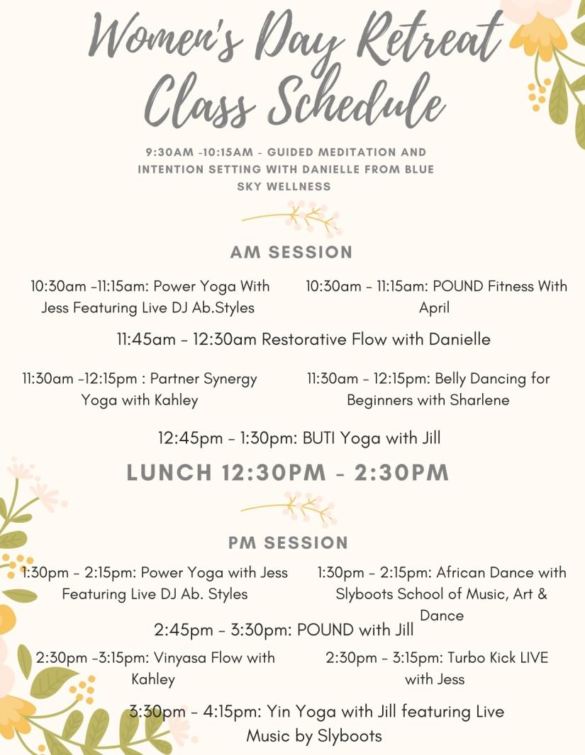 Women's Day Retreat Class Schedule